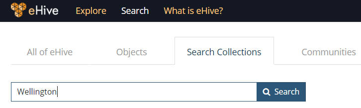 Searching for Wellingon in the Search Collections page