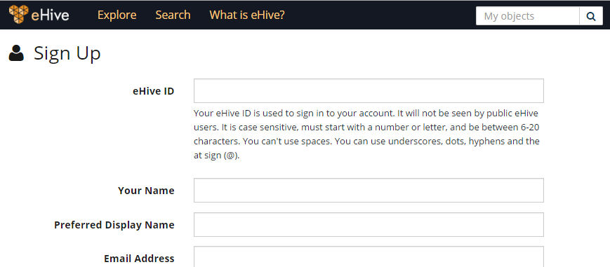 eHive's Sign Up page
