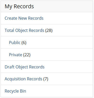 The My Records section of a logged in homepage