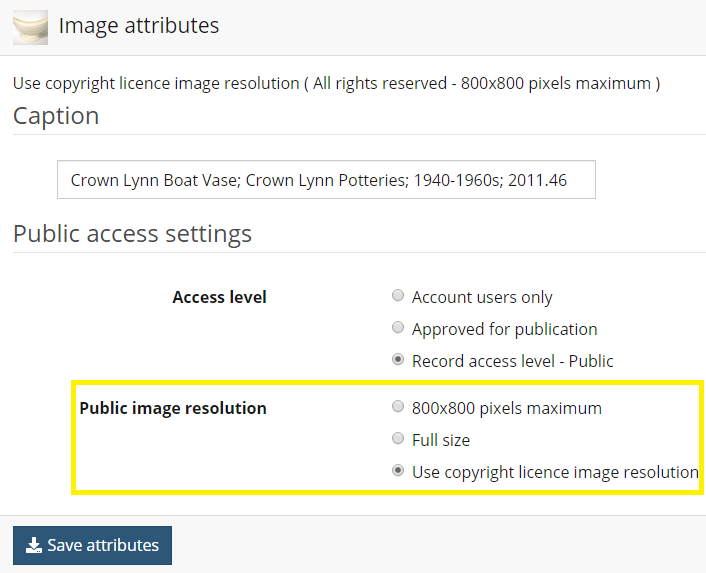 Options for Public Image resolution
