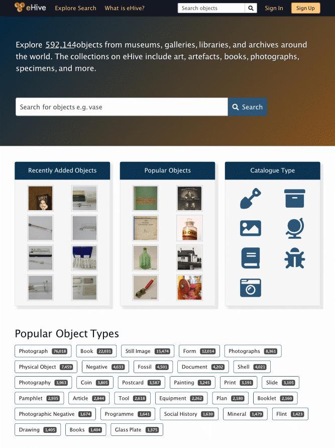 eHive homepage