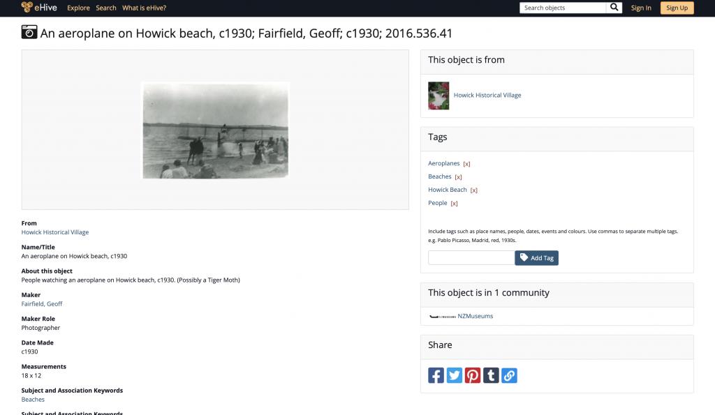 An aeroplane on Howick beach, c1930