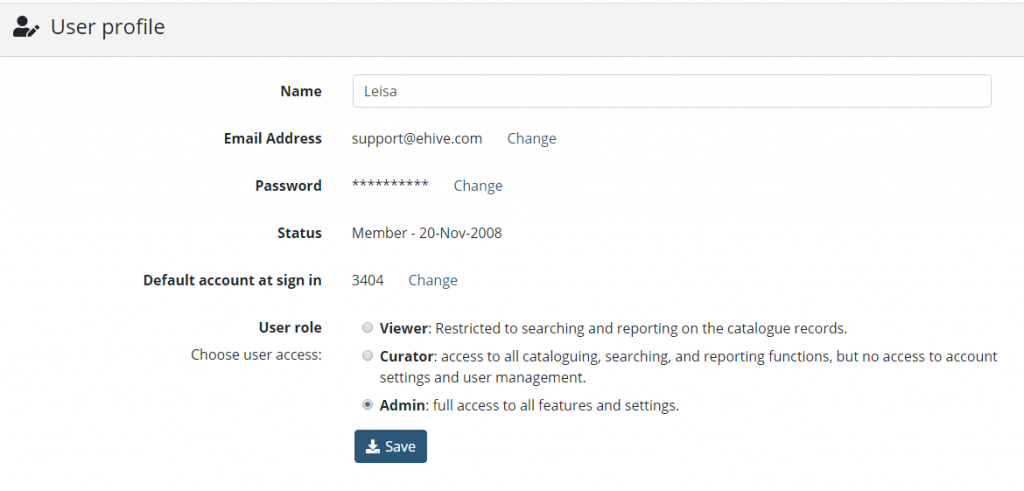User Profile as Admin for support@ehive.com