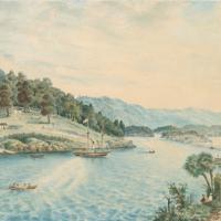 Watercolour painting of Jacobs river, Riverton, CC by Te Hikoi museum